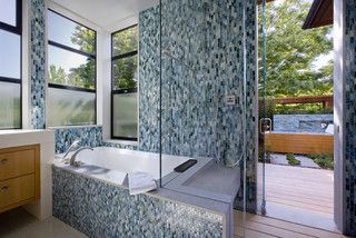 Contemporary bathroom design, glass tile, natural light