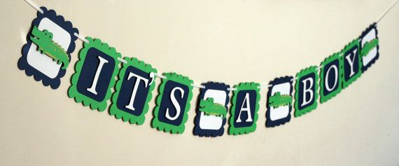 Alligator It's a Boy Baby Shower Banner Navy by AngiesDesignz, $19.00