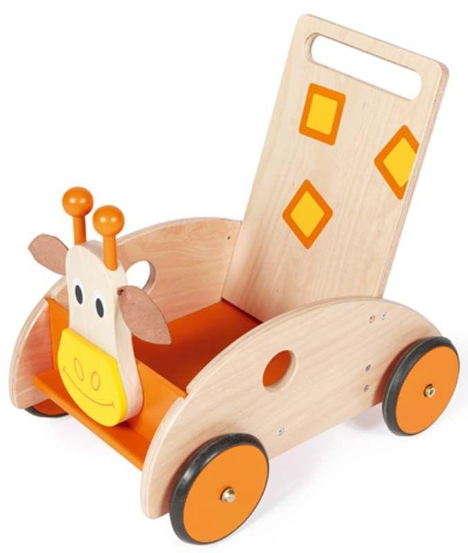 Ce chariot de marche girafe avec frein de la marque Scratch accompagnera les premiers pas de bébé en toute sécurité. A partir de 1 an+