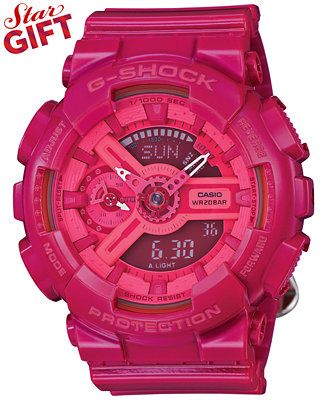 G-Shock Women's Analog-Digital Pink Resin Strap Watch 49x46mm GMAS110CC-4A