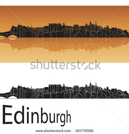 Edinburgh skyline in orange background - stock photo
