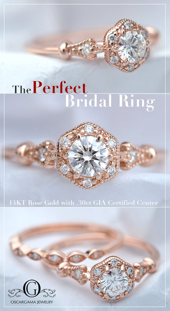 14kt Pink gold round brilliant .30ct to .31ct G-H SI2 GIA Certified or Better.  Flower style Halo Ring with six diamonds. Each diamond measures 1.15mm with a total weight of .04. The shank is adorned with two small diamonds of 1.50mm one on each side .03ct TW All the diamonds are G-VS- SI with a total weight of .07ct All my center stones are GIA Certified diamonds with the color of G-H eye clean (original certificate included) WWW.GIA.edu
