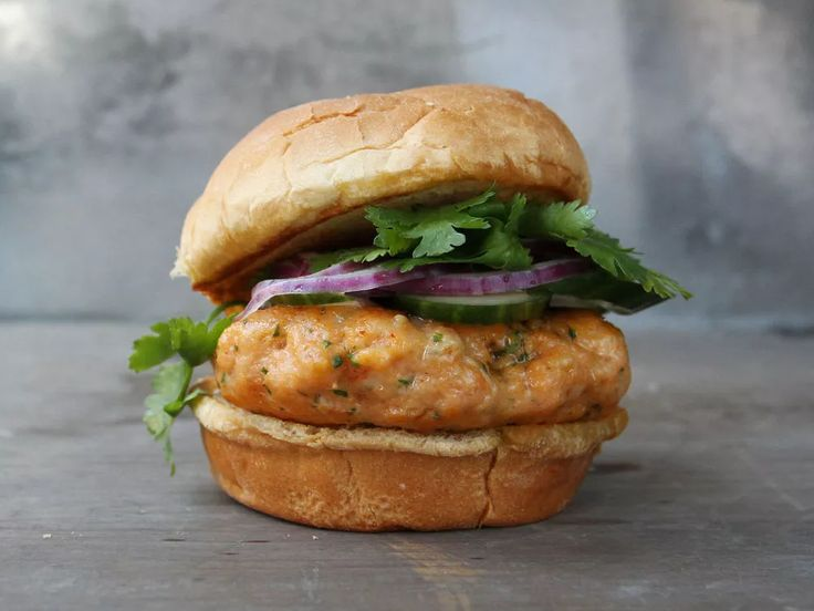 Thai Fish Burgers ; fish sauce ; curry paste ; kaffir lime ; cilantro ; cucumber ; red onion ; grill ; seafood ; asian