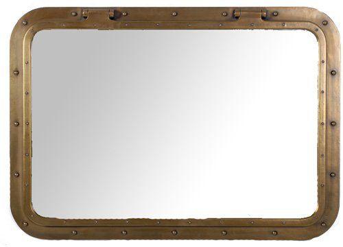 34 Quot X 24 Quot Antique Brass Finish Rectangular Porthole Mirror