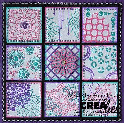 Annelies maakte deze kaart en de werkbeschrijving vind je op het blog: https://www.crealies.nl/detail/1940961/17-09-03-annelies.htm http://crealies.blogspot.nl/2017/09/crealies-workshopkaart-knotsgekke.html  Crealies stansen/dies: Crea-Nest-Lies XXL no. 54, 70, 66 Decorette XL no. 07, 08 Set of 3 no. 47 Duo Dies no. 47  Crealies stempels/stamps: Bits & Pieces no. 118, 117, 97, 96, 90, 89, 77, 64, 61, 57, 53, 41, 40, 04, 03  Crealies Masks (binnenin de kaart): Masks & More Mini no. 114