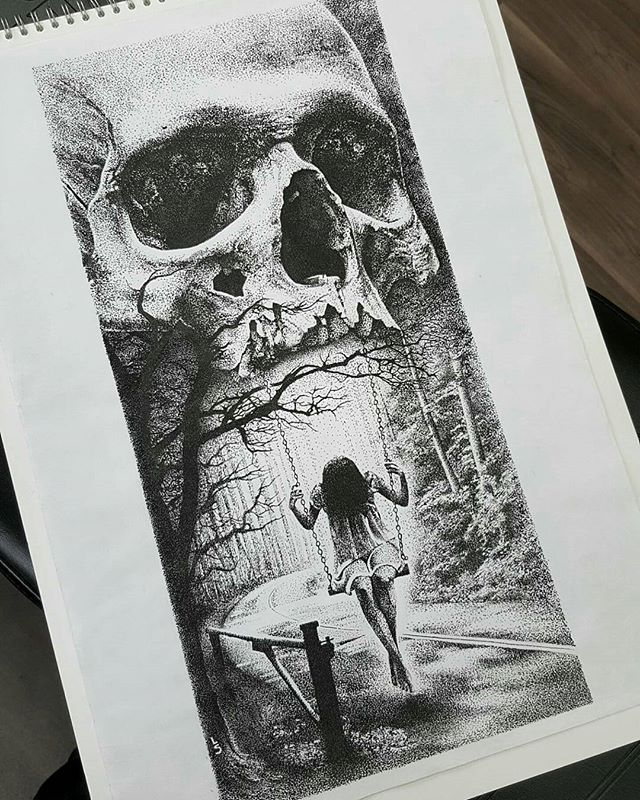 """Swinging from the jaws of death' - Incredible dotwork drawing by artist…"