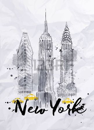 Aquarelle gratte ciel de New York Empire State Building Chrysler Building dans le dessin de style vi Banque d'images