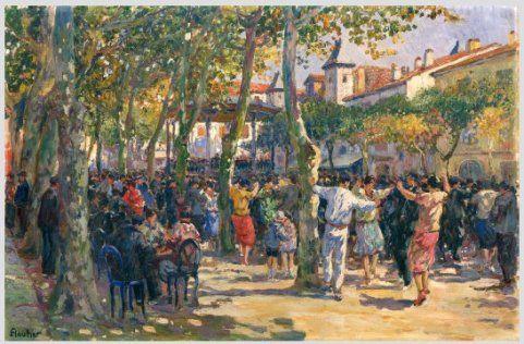 Louis FLOUTIER Le fandango Saint Jean de Luz Place Louis XIV #Aquitane-Côte-Basque-Pyrénées-Atlantiques #St-Jean-de-Luz
