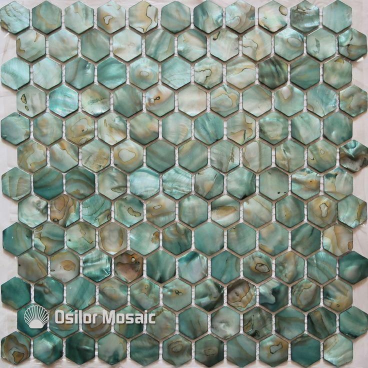Gratis verzending geverfd groene kleur natuurlijke Chinese zoetwater shell parelmoer mozaïek tegel voor badkamer decoratie wandtegel(China (Mainland))