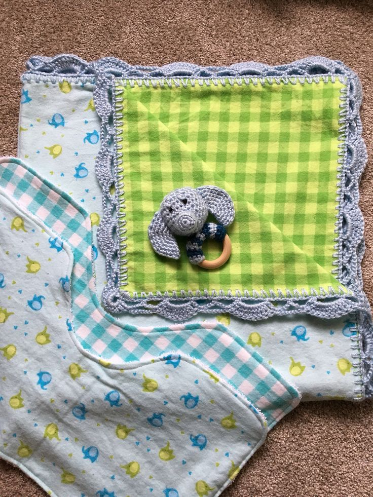 A personal favorite from my Etsy shop https://www.etsy.com/ca/listing/549804980/elephant-baby-gift-set-including-a