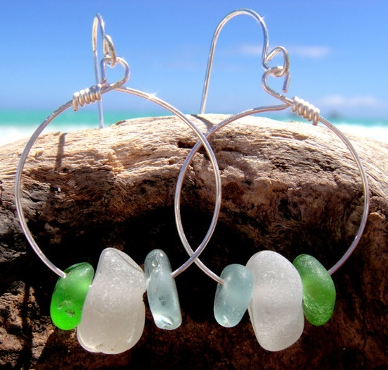 beach glass jewelry | Beach Glass Jewelry / Hawaiian Aqua Blue, Emerald Green, & Clear Beach ...