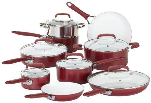 WearEver C943SF63 Pure Living Nonstick Scratch-Resistant Durable Ceramic Coating Healthy PTFE-PFOA-Cadmium Free Dishwasher Safe Oven Safe Cookware Set, 15 Piece, Red WearEver $150  http://smile.amazon.com/dp/B00DGMKS92/ref=cm_sw_r_pi_dp_tFWfub1F89P9K