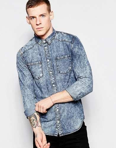 Prezzi e Sconti: #Minimum camicia di jeans lavaggio acido - taglia M  ad Euro 56.99 in #Minimum #Male saldi camicie