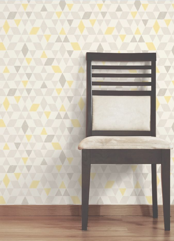 Colours Triangles Soft Lemon Geometric Wallpaper 24
