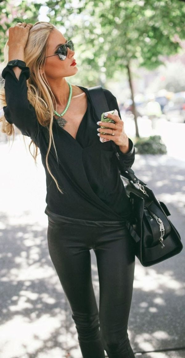 sunglasses green necklace leggings leather pants handbag style fashion women apparel clothing outfit casual All black fashion by aimee