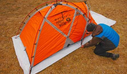 """Prolong the waterproof characteristics of your tent floor by making a simple, inexpensive groundsheet out of a common construction material called Tyvek.""   -Backpacker Magazine"