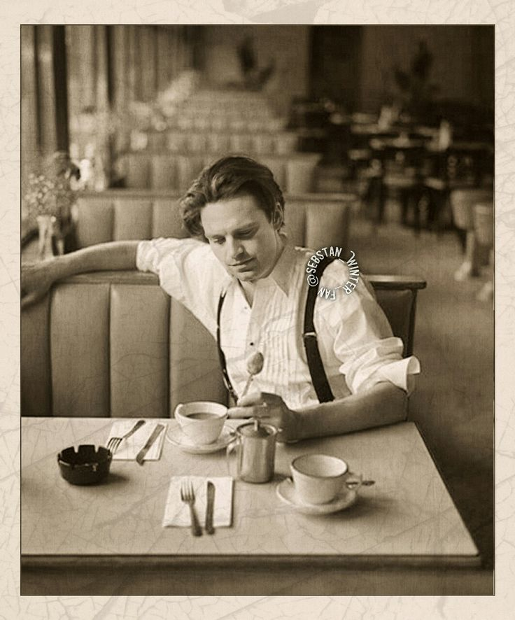 Sebastian ⭐️ Stan Sunday morning. James Barnes. First customer. He's about to enjoy his breakfast at this quiet place. But has to wait for… ….. >>my photoshop edit