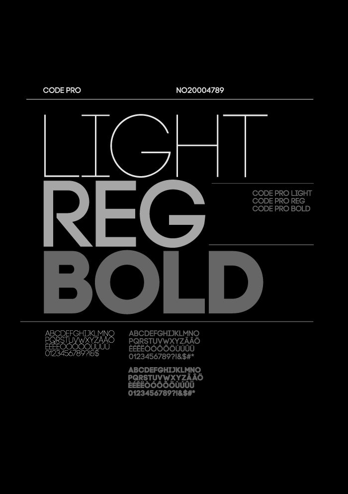 Code Pro is a font family inspired by the original Sans Serif fonts like Avant Garde or Futura, but with a modern twist. It is clean, elegant and straight-to-the-point. Code font is applicable for any type of graphic design—web, print, motion graphics, etc.—and perfect for t-shirts and other items like posters and logos.