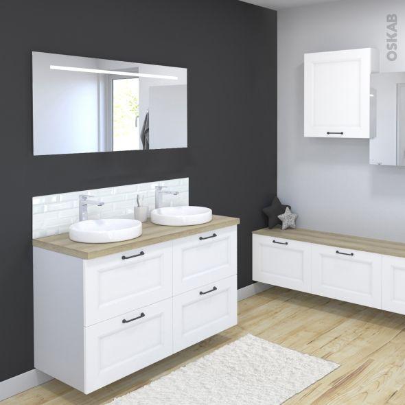 Ensemble Salle De Bains Meuble Static Blanc Plan De Toilette Chene Clair Ikoro Double Vasque Miroir Lumineux L120 X H70 X P50 Cm Oskab Ensemble Salle De Bain Meuble Sous