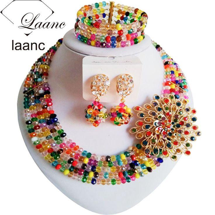New Fashion Black Women's Mixed Multicolor Crystal Bead Nigerian African Wedding Jewelry Bead Set ABD179