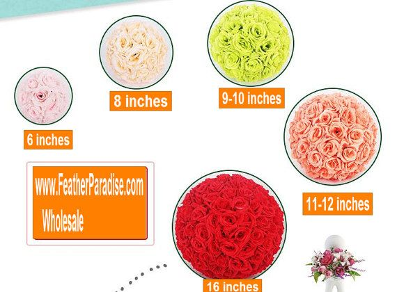 10 pcs Rose Balls Flower Kissing Balls Pomander Flower Balls 6 inches  Diam: 6 inches  Unlike other cheap flower balls, our rose balls are made of vivid rose flowers which edge are curled and have 5 layers not 3 layers. No leaves which are more cheaper than roses and NO cheap PE flowers. We use more roses to make them best looking and high quality.  Each flower is glued with hot glue to prevent them from falling off.  You can put them on our floral stands, vases to make perfect centerpieces…