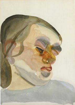 lucian freud, watercolour, head of a child resting