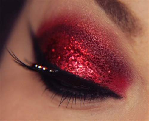 Red glitter and rhinestones.