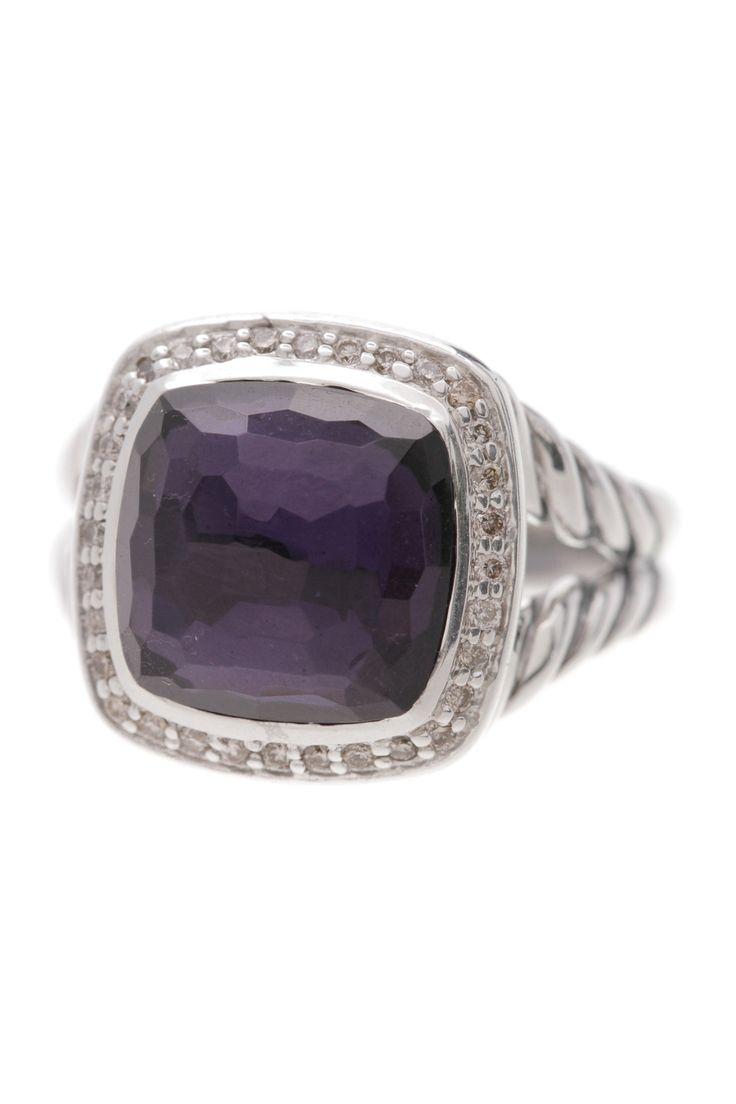 david yurman sterling silver 11mm amethyst u0026 diamond albion ring