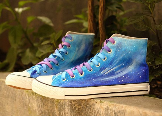 Blue Gradient Galaxy shoes,Vans sneakers,star ombre women shoes,best gift