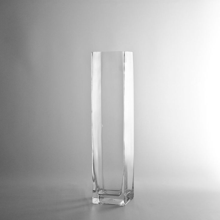 """14"""" Tall Square Glass Vase, Discount Wholesale Vases and Containers - Wholesale Flowers and Supplies"""