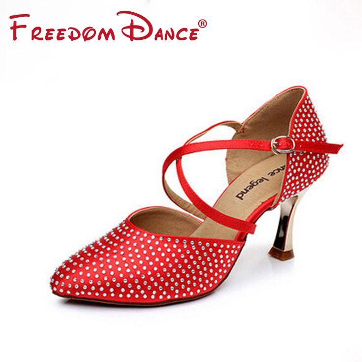Rhinestones Decorated Red Satin Women's Dancesport Shoe Girls Latin Dance Shoe High Heel Rumba Chacha Samba Shoe Ballroom Shoes