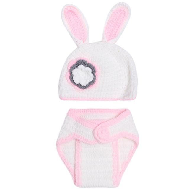 Cartoon Animals Rabbit Baby Photography Prop Handmade Crochet Knit Rabbit Hat+ Pants Photography Clothing Infant Clothes