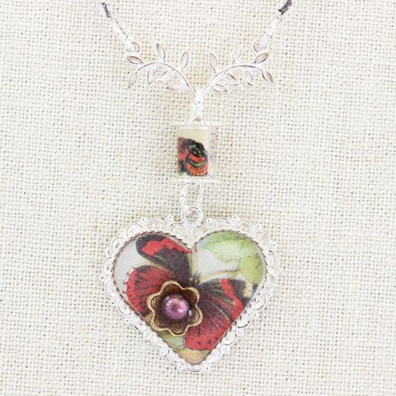 Red Yellow Butterfly Heart Pendant Butterfly by PearlKissed