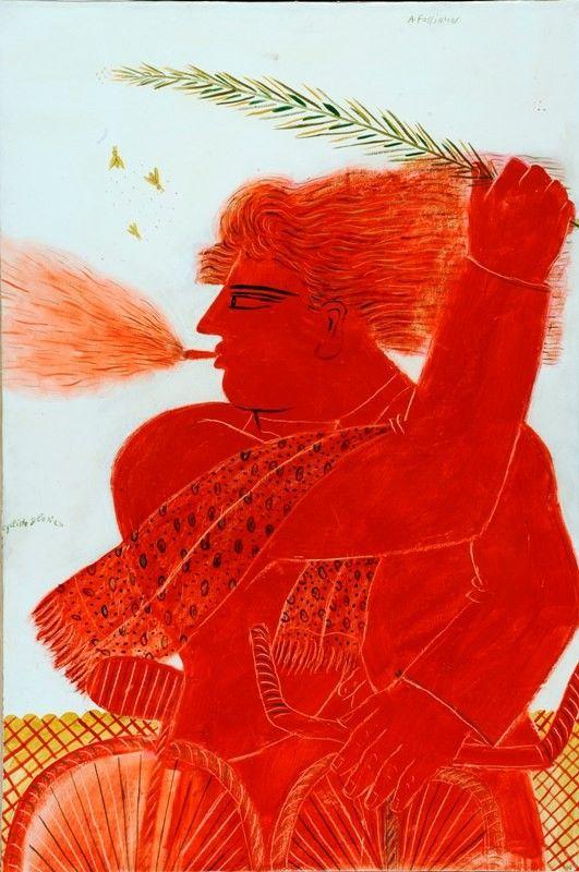 amare-habeo:  Alecos Fassianos (Greek b.1935)  Glorian Cyclist N/D  Oil on Canvas 398 x 268 in.