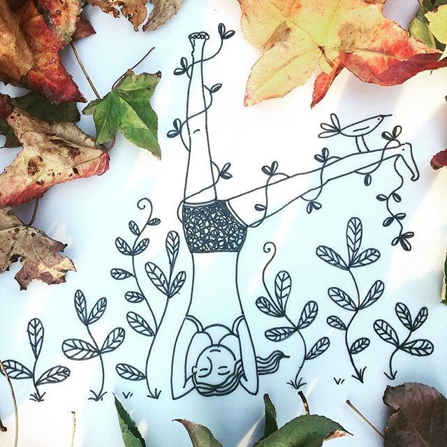 Autumn Yoga #yoga #iyengaryoga #parsvaikapadasirsasana #heartyoga #autumn #autumnleaves #drawing #sketchbook #ink