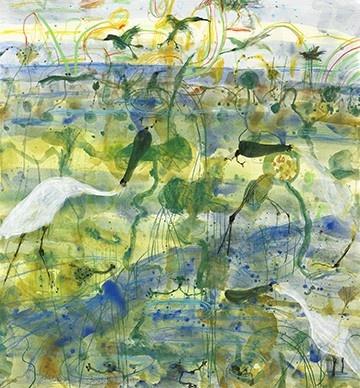 Spoonbill & Frogs by John Olsen