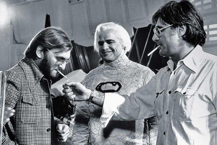 Producer Pierre Spengler, Marlon Brando and director Richard Donner having a smoke break on the set of Superman