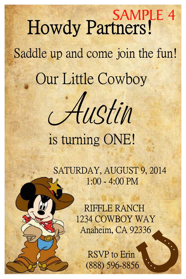 Cowboy party invitation ideas - Cowboy Mickey Mouse Birthday Invitation Click To Order Today