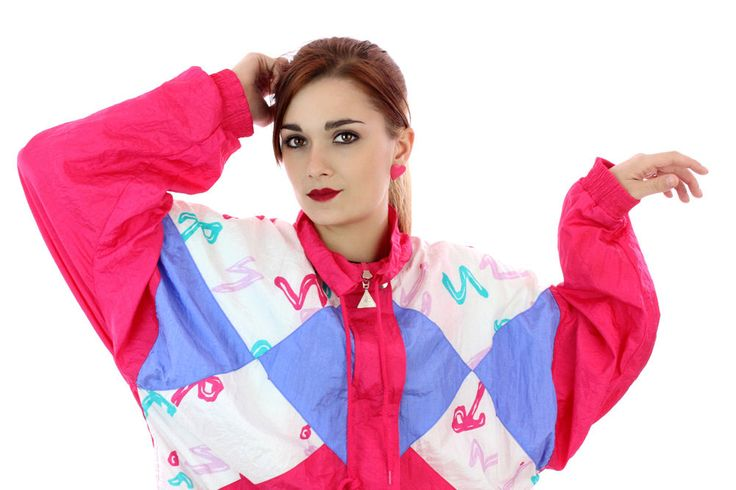 80s New Wave Windbreaker Jacket 90s Vintage Surf Shapes Graffiti Paint Art 1980s 1990s Colorblock Running Surfer Unisex Mens Womens Medium M by neonthreadsdesigns on Etsy