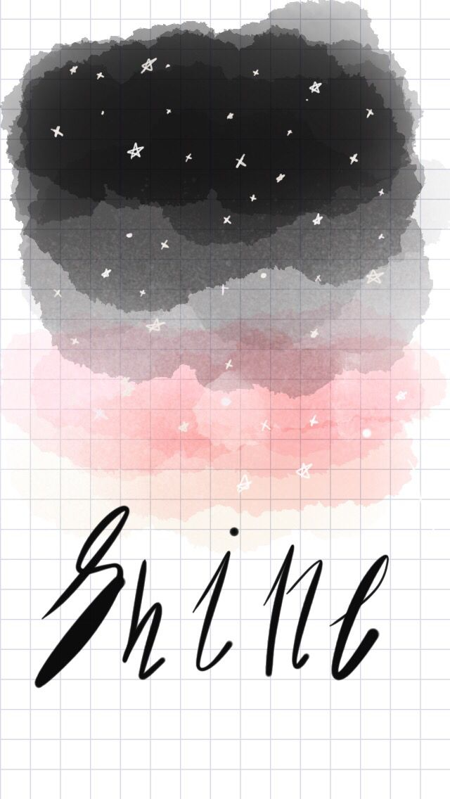 Black, grey, pink, watercolor, tayasui sketches app, shine, star, watercolor ideas