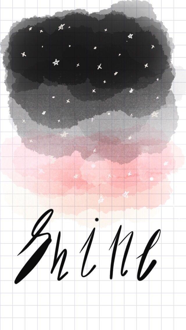 Black, grey, pink, watercolor, tayasui sketches app, shine, star, watercolor ideas
