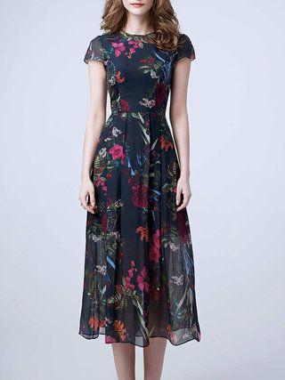 Multicolor Short Sleeve Silk Floral-print Midi Dress