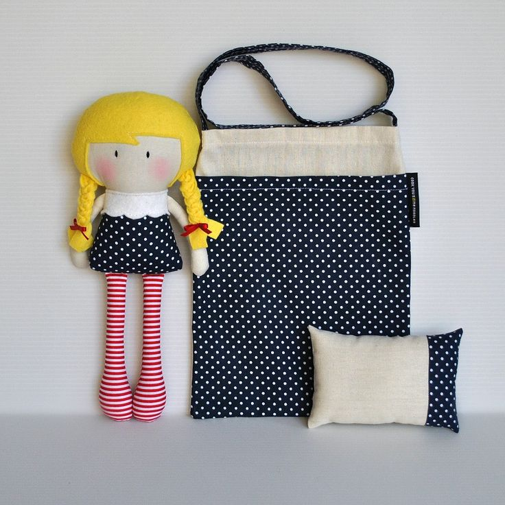 RESERVED for Georgia Rich - My Teeny-Tiny Doll Lily and Carry-Me Messenger Bag and Teeny-Tiny Pillow Set. $72.00, via Etsy.