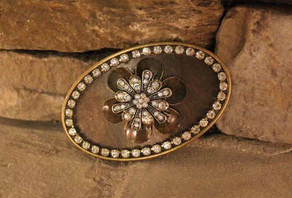 Oval Crystal Flower Brass Belt Buckle by ShopPrettyPatina on Etsy