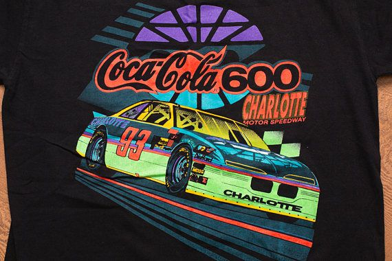 NASCAR Coca-Cola 600 T-Shirt, 1993 Winston Cup Series Race, Vintage 90s, Neon, Charlotte Motor Speedway, North Carolina, Dale Earnhardt