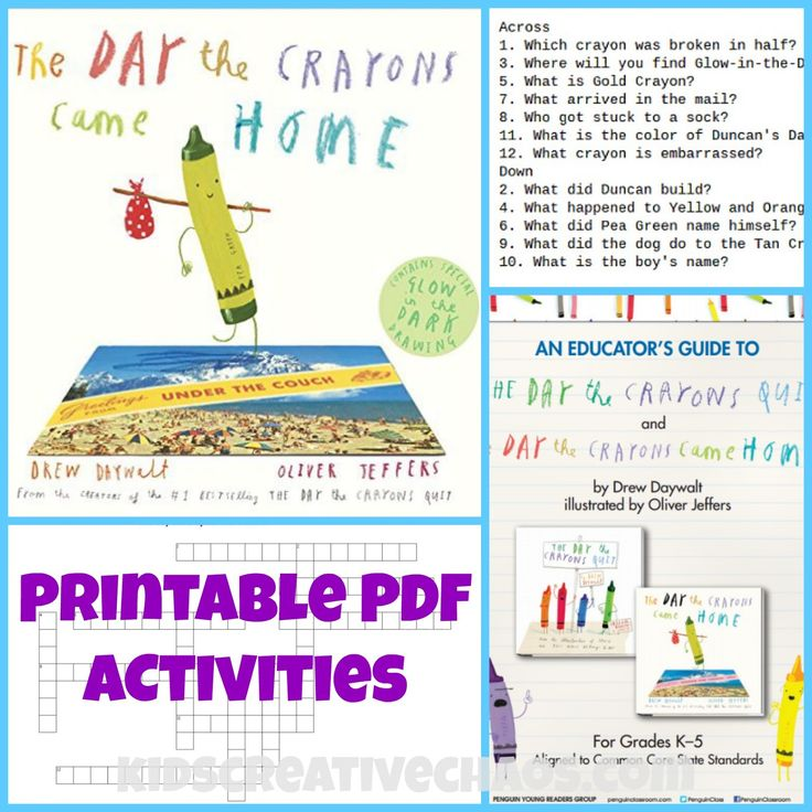 The Day the Crayons Came Home PDF Activities: Book Review #KidsCreativeChaos #PrintablePDFActivities
