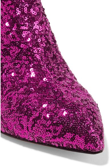 Heel measures approximately 55mm/ 2 inches Black and magenta sequined leather Pull on