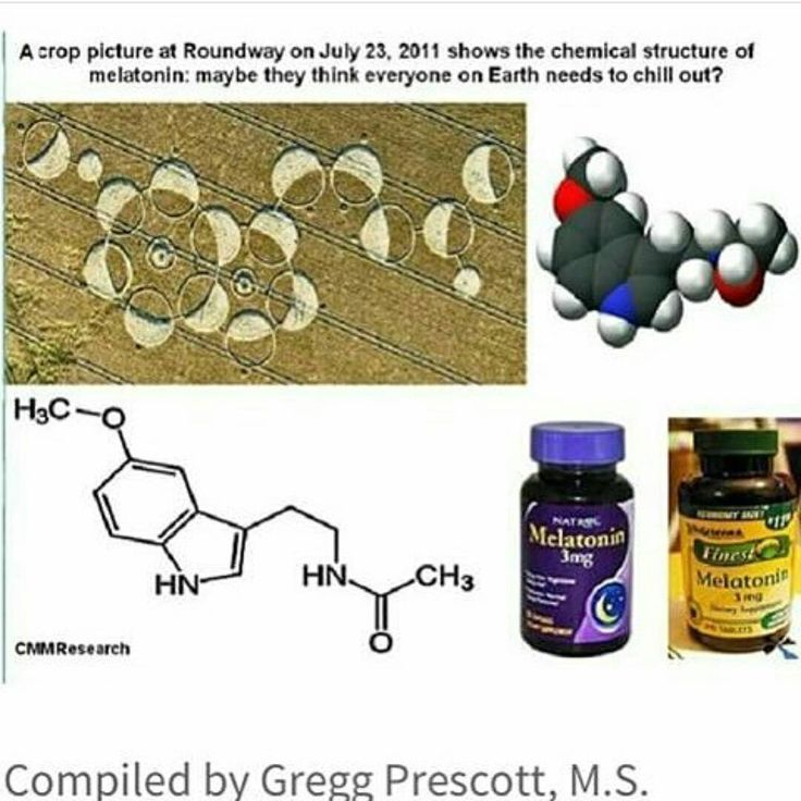 In a July 23, 2011 crop circle, the basic chemical composition of melatonin is diagrammed by the crop circle makers. What do you suppose this crop circle message means and how does it relate to melatonin? Melatonin is made in the brain by the pineal gland. During darkness, melatonin levels are greatest. During brightness, these levels are low. For this reason, melatonin is believed to affect the body's circadian rhythms of waking and sleeping. People usually take synthetic melatonin…