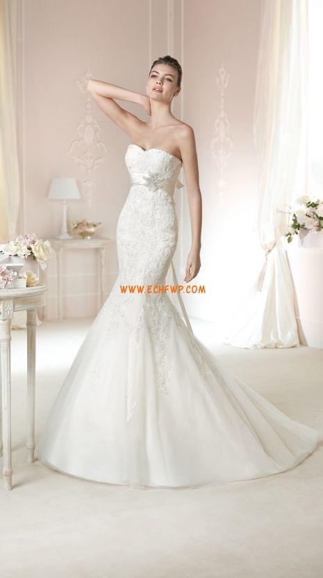Court Släp Elegant & Lyxig Applikation Bröllopsklänningar 2015
