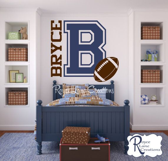 Varsity Letter Decal with Personalized Name and Football for Teen Boys Bedroom Sports Wall Decal Football Wall Decal